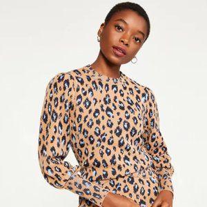 Ann Taylor Leopard Jacquard Puff Sleeve Sweater